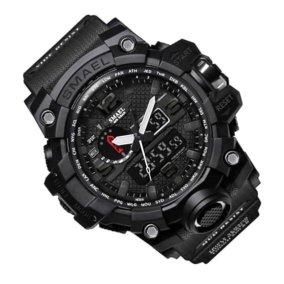 Rosepoem Relojes deportivos Relojes de los deportes al aire libre reloj multifuncional Reloj de cuarzo alarma de reloj cronómetro Negro: Amazon.es: Relojes