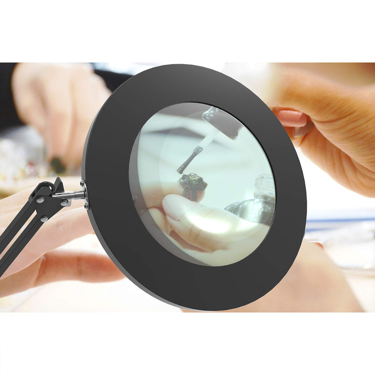 YOUKOYI 5X LED Magnifying Lamp Metal Swing Arm Magnifier Light 3 Color Modes 4.1 Diameter Glass 7W Eye-Caring Desk Lamp for Reading//Office//Work White