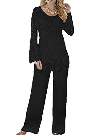 6712c873cdd62 DMDRS Women s Lace Two Pieces Mother Pants Suit Formal Wear at ...