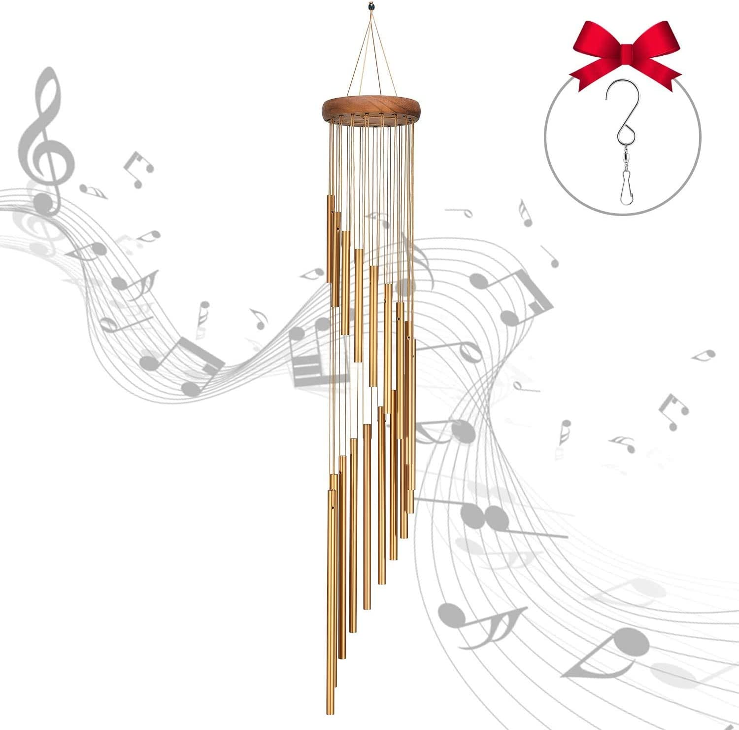 One Sight Wind Chimes Outdoor, 36'' Large Wind Chimes with 18 Aluminum Alloy Tubes and S Hook, Memorial Wind Chimes Deep Tone for Garden,Patio,Home and Indoor Decor
