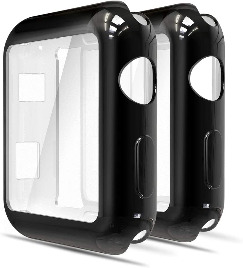 Simpeak Soft Screen Protector Bumper Case Compatible with Apple Watch 42mm Series 3 Series 2, Pack of 2, All Around, Black+Black