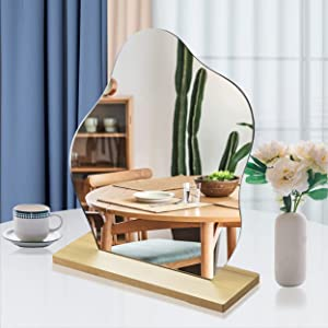 Irregular Mirror Acrylic Makeup Mirror Aesthetic Mirror for Desk Funky Wavy Cloud Shape W/Wooden Stand for Living Room, Bedroom, and Minimal Spaces Home Decor (1)