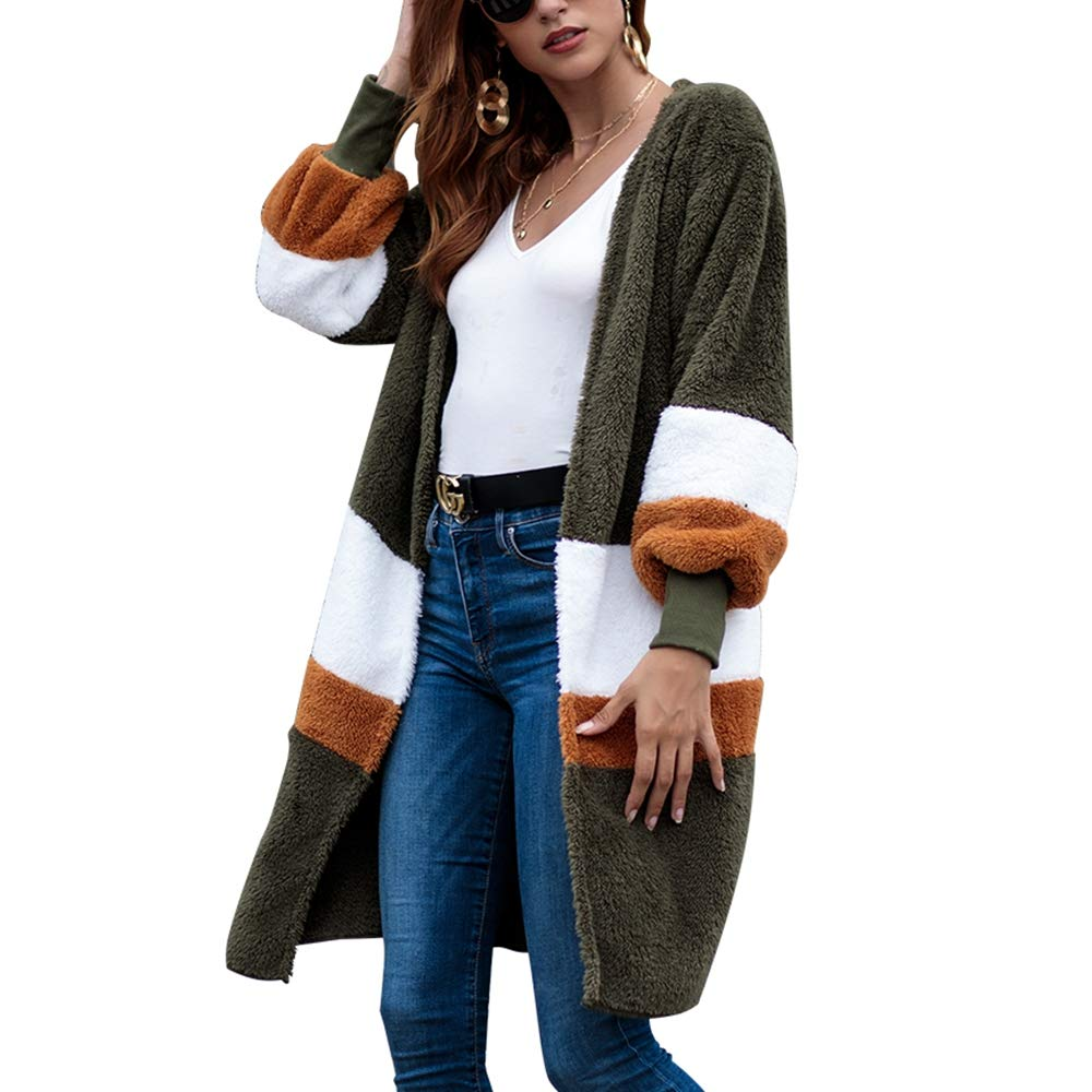 Women's Casual Fuzzy Fleece Open Front Cardigans Jacket,Long Sleeve Faux Fur Block Color Coats Outwear Green by KINGLEN Womens Top