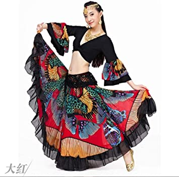 Xf Conjunto de Falda de Flores Grandes 720 Grados, Falda de Danza ...
