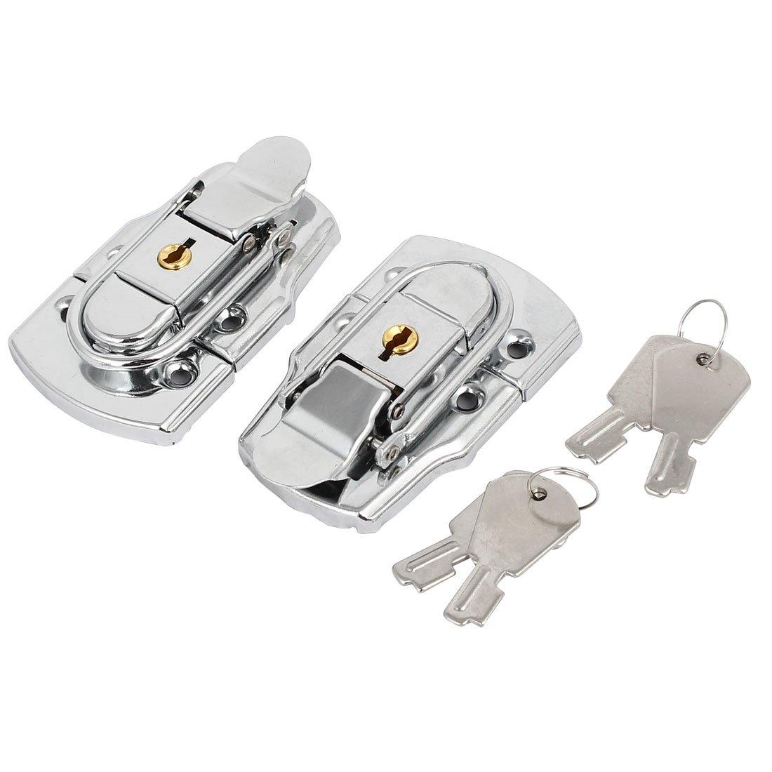 uxcell Toolbox Case 77x45x15mm Metal Box Toggle Latches Hasps Keyed Locks Silver Tone 2pcs