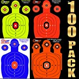 100-PACK SHOOTING TARGETS - 25 Sheets of Each Color Fluorescent Orange, Neon Green, Electric Blue and Hunter Orange. Easy to See Your Shots Land, Heavy-Duty Silhouette Paper Sheets. Low Prices.