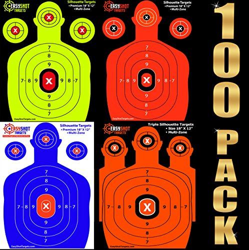 100-PACK-SHOOTING-TARGETS-25-Sheets-of-Each-Color-Fluorescent-Orange-Neon-Green-Electric-Blue-and-Hunter-Orange-Easy-to-See-Your-Shots-Land-Heavy-Duty-Silhouette-Paper-Sheets-Low-Prices