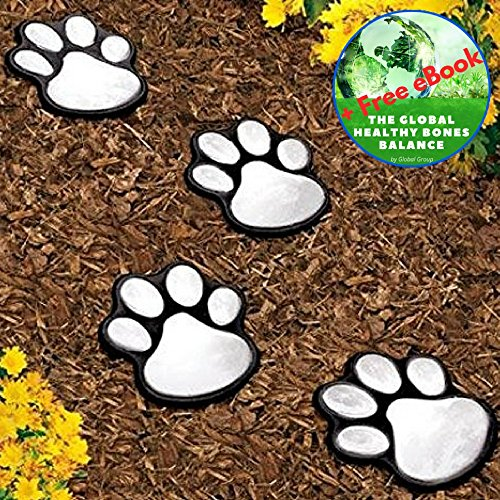 Wild Animal Paw Prints (Garden LED Solar Powered Lights Dog Animal Paw Print - 4 Pack - Great Lantern Outdoor Decor for Patio, Yard, Walkway, Pathway, Lantern, Path and Landscape - Plus Exclusive eBook - by Global Group)