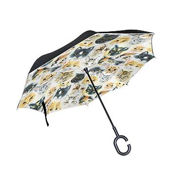 My Daily Paraguas invertido Doble Capa para Coches, Paraguas inverso para Gatos, Impermeable,