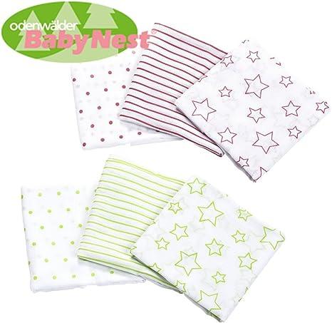 odenwälder Baby Nest pañales de tela//doble de Gasas//Vómitos//6 Pack Stars Girl//Práctico tamaño 80 x 80 cm//Premium Calidad: Amazon.es: Bebé
