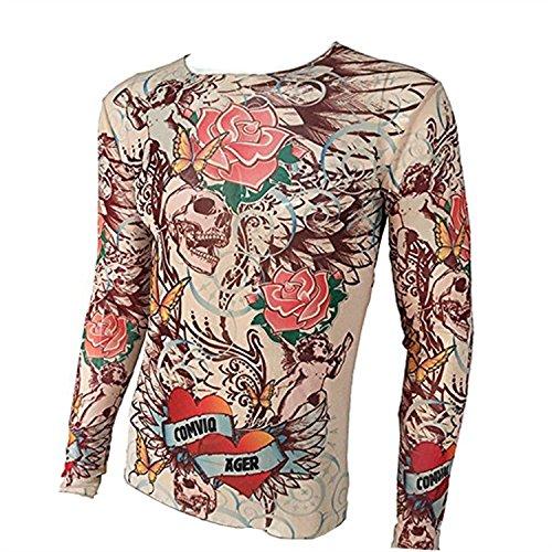 3840064a5 SHINA Skull series Tattoo long sleeve T-Shirt Men Elastic suitable