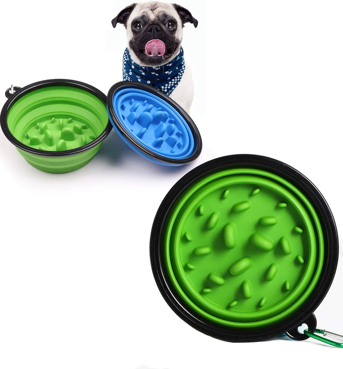 Olele Food Bowl to Slow Down Eating,Dog & Cat Food Bowls Slow Feeder… (Green)