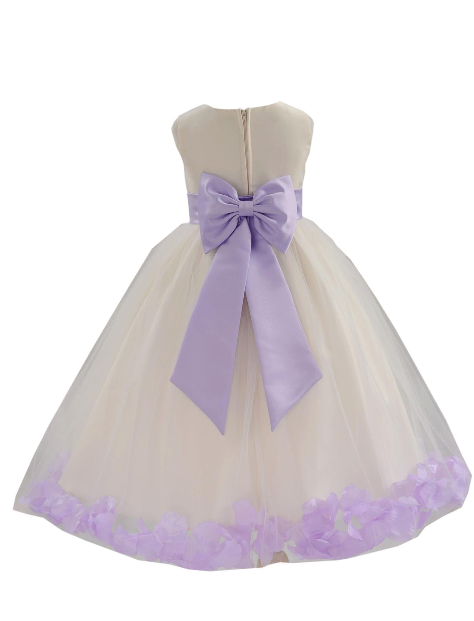 fd9732de7a9 Wedding Pageant Flower Petals Girl Ivory Dress with Bow Tie Sash 302a  product image