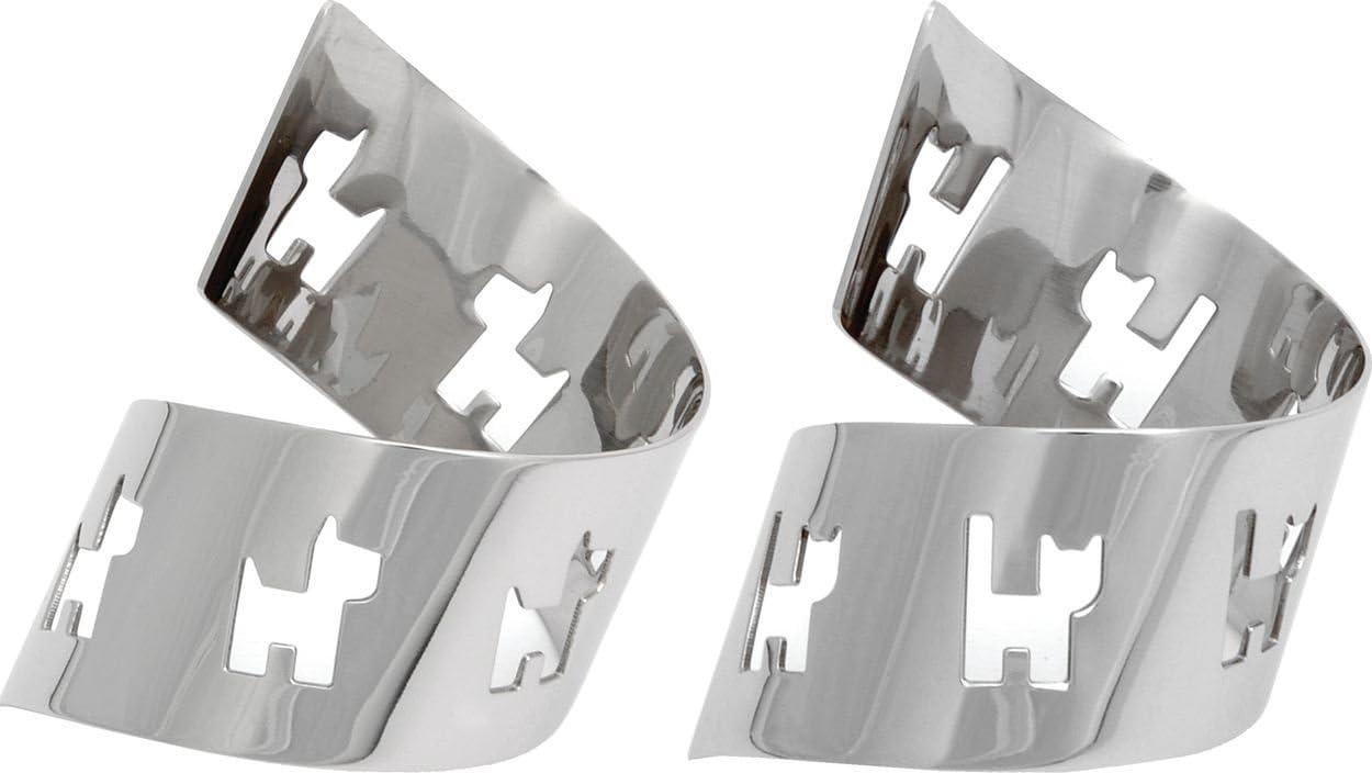 Set di Due Alessi Mini Girotondo portatovaglioli in Acciaio Inox 18//10/lucidato a Specchio Cane e Gatto