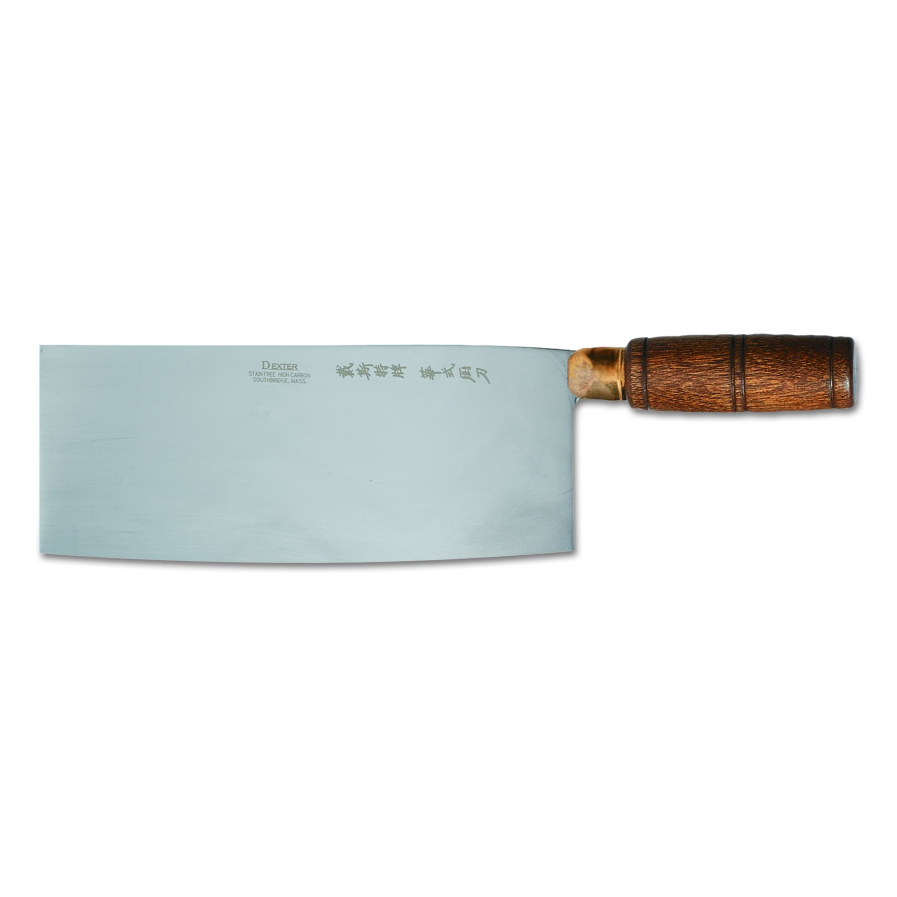 Traditional S5198 8'' x 3-1/4'' Chinese Chefs Knife with Wooden Handle