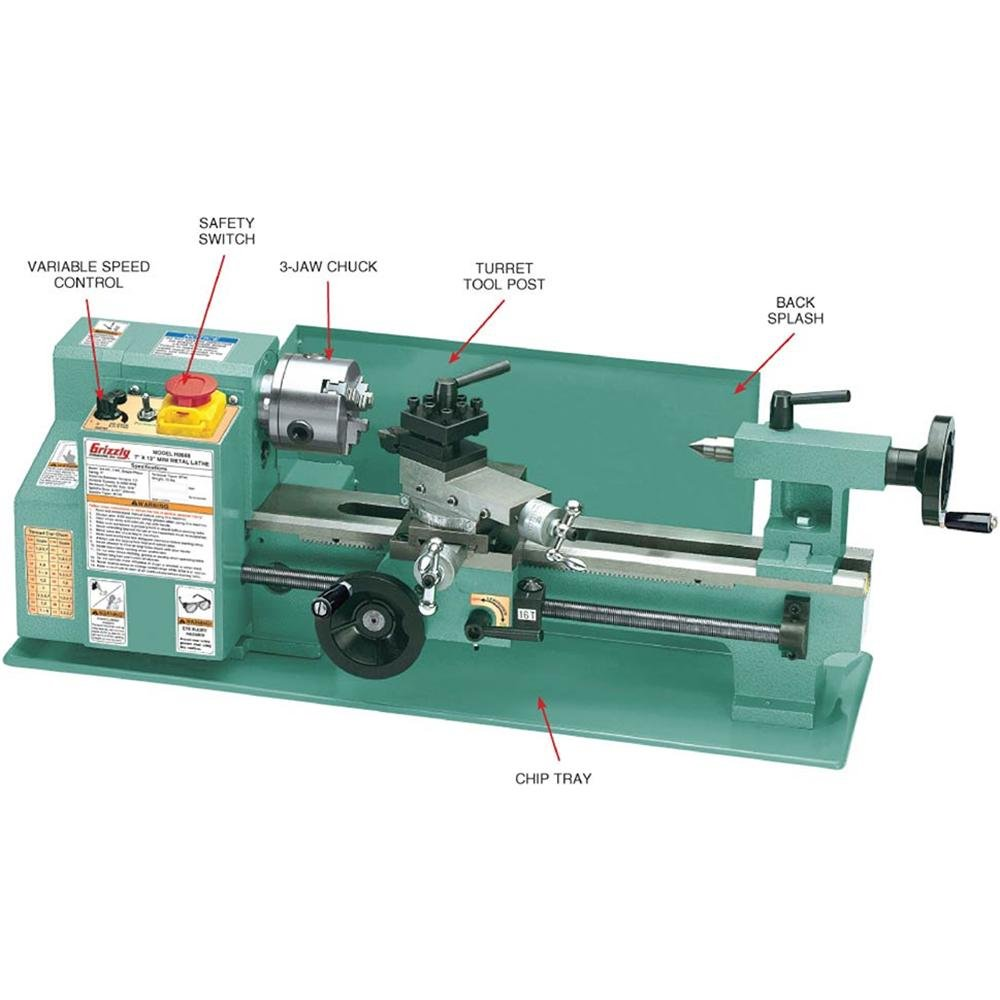 Grizzly G8688 Mini Metal Lathe Green
