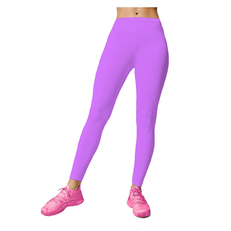 Childrens Lycra Shiny Stretch Full Length Gym Gymnastics Dance Neon Leggings