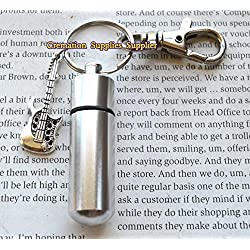 Lovely Silver Personal CREMATION URN Keychain/Keepsake with Guitar,cremation Collection,memory jewelry,Guitar Cremation souvenir,Memorial Urn
