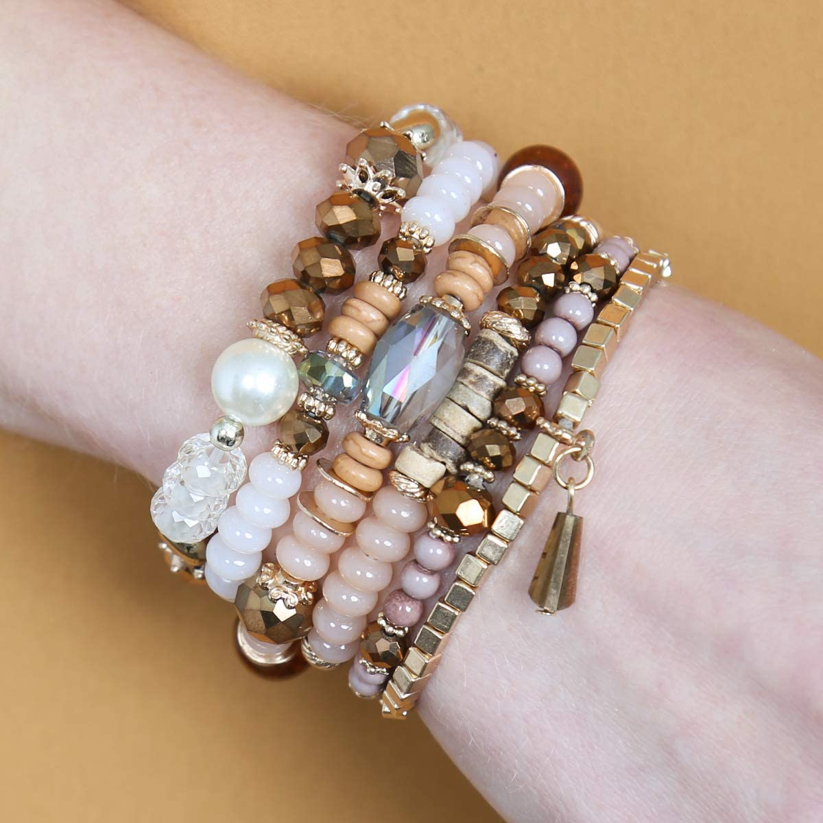 RIAH FASHION Bead Multi Layer Versatile Statement Bracelets Stackable Beaded Strand Stretch Bangles Sparkly Crystal Mix Tassel Charm