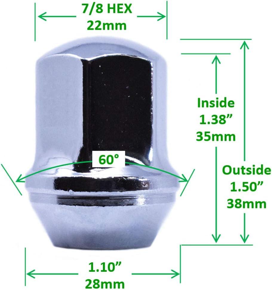 Hex Conical 60 Degree Seat Bulge Acorn Lug Nut Set 9//16-18 Thread 7//8 Triple Chrome Plating One-Piece 22mm Mastiff 2020 Chrome, 24