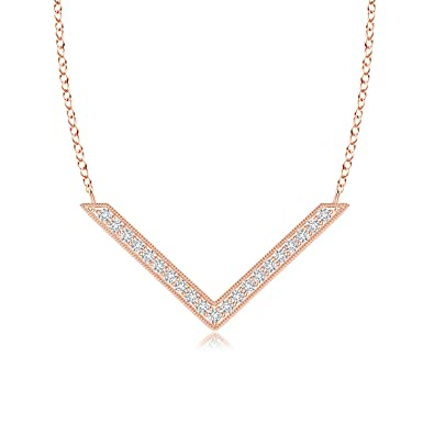 1723b775d339 Amazon.com  Lab Grown Diamond Chevron Necklace in 14k Rose Gold  Jewelry