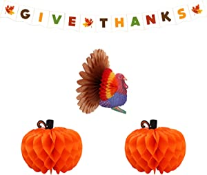 Turkey and Pumpkin Paper Honeycomb – Give Thanks Banner Thanksgiving Party Decorations Supplies Kit| Pack of 4, Great Centerpiece for Fall Autumn Party, Dining Table, Outdoor, Home Office Décor