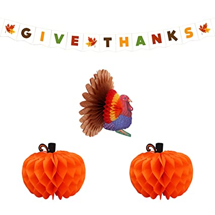 Home office turkey Luxury Turkey And Pumpkin Paper Honeycomb Give Thanks Banner Thanksgiving Party Decorations Supplies Kit Pack Amazoncom Amazoncom Turkey And Pumpkin Paper Honeycomb Give Thanks Banner