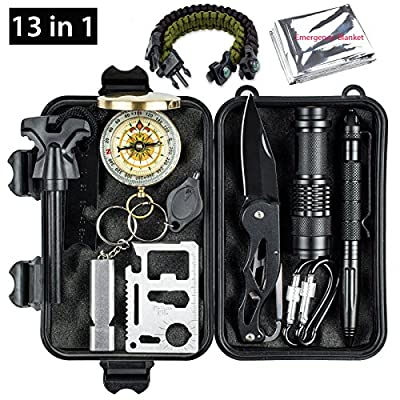 Oriketech Emergency Survival Kit 13 in 1 Mini Survival Gear Kit Outdoor Survival Tool with Thermal Blanket Carabiner Bracelet Fire Starter More for Adventure Outdoors Sports Traveling Hiking