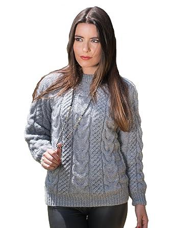 6108734eccec77 Gamboa Silver Alpaca Sweater Pullover Cable Knit for Women (Small)