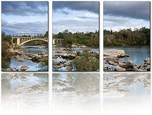 "Gracelapin Modern Canvas Painting Rainbow Bridge, Folsom, California Riverside californias and Wall Art Artwork Decor Printed Oil Painting Landscape Home Office Bedroom Framed Decor (16""x24""x3pcs)"