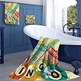 Vintage Long Bathroom Accessories Set Bingo Game with Ball and Cards Pop Art Stylized Lottery Hobby Celebration Theme Custom towel set Multicolor