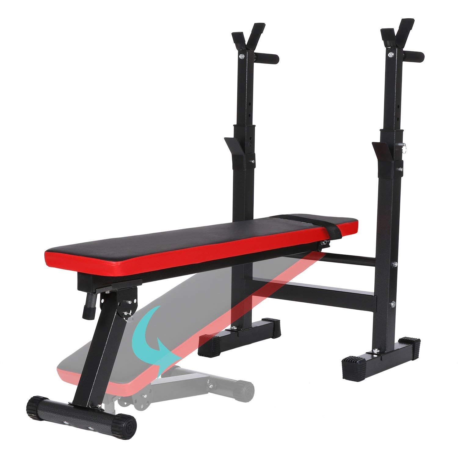 Belovedkai Adjustable Olympic Weight Bench Full-Body Workout Fitness Bench with Rack (Black & Red)
