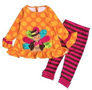 8716fc9346b6 eKooBee Little Girls Kid's Thanksgiving Turkey Brown Polka Dot Dress Outfit  (4Year, Orange Pant