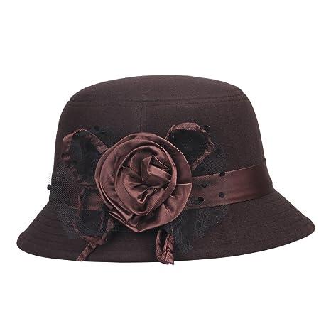 La vogue-Cappello di Cotone e Poliestere Cappello a Cilindro Donna Berretto  con Fiore ( 5 Nero)  Amazon.it  Sport e tempo libero ae097948a3bd