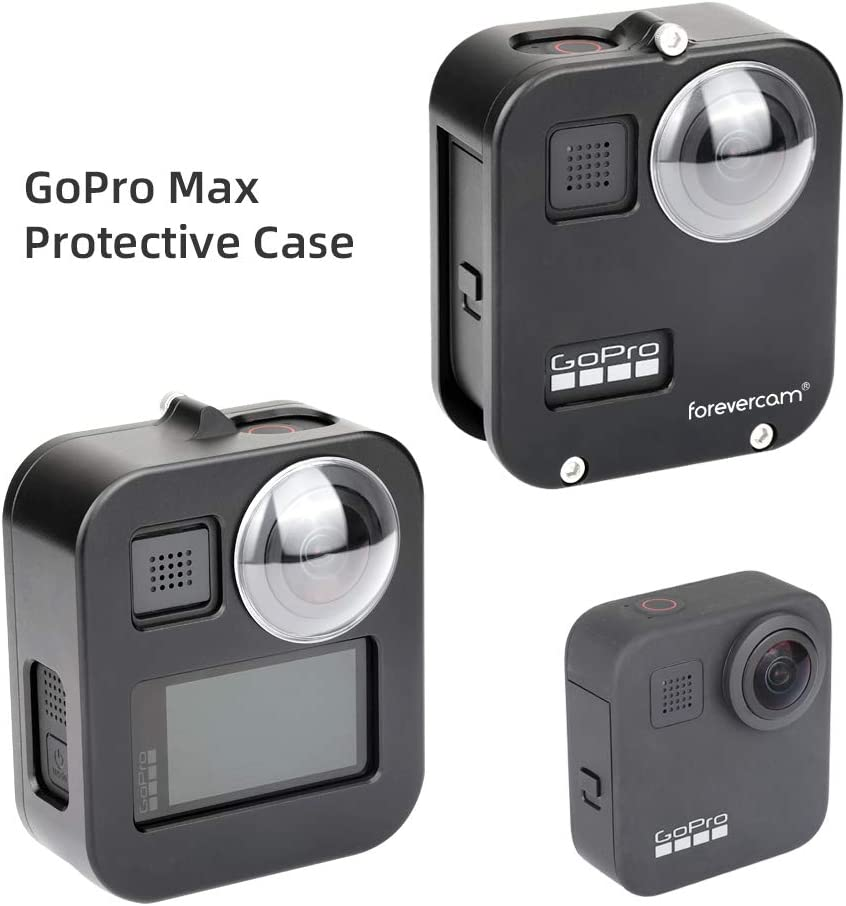 Compatible with Gopro max case,Aluminum Case Frame for GoPro max Case with 2 Aluminium Alloy Lens Cap 2 Protective Lens-Best Protection for GoPro max