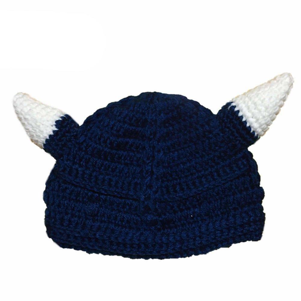 Amazon.com  BIBITIME Knitted Ox Horn Beanie with Beard Mask Handmade Crochet  Vikings Hat Cap (Hat with Coffee Beard b1b946ad773