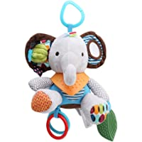 Albeey Baby Toys For Boys & Girls, Fun Soft Plush Baby Rattle & Stroller Toddler Toy - Gender Neutral Baby Shower Gift for Newborns (elephant)