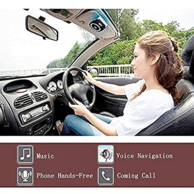 Aigital Bluetooth Handsfree Car Kit Speakerphone Wireless in-Car Speaker Motion AUTO Power ON Sun Visor Audio Receiver Adapter HD Sound for Hands Free Calling Music Player GPS Navigation - Black: Automotive
