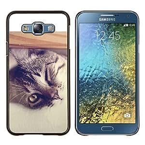 TECHCASE---Cubierta de la caja de protección para la piel dura ** Samsung Galaxy E7 E700 ** --Gato genial