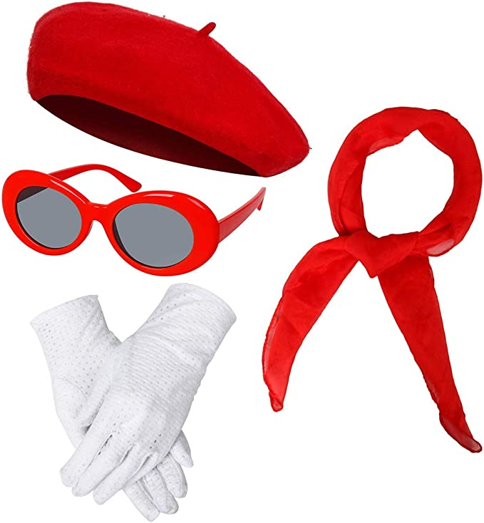 Girls French Themed Party  Dress Costume Accessories Set