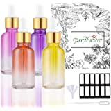 PrettyCare Eye Dropper Bottles 1oz (Rainbow Colored Glass Bottle 30ml 4 Pack with Golden Caps, 12 Lables & Funnel…