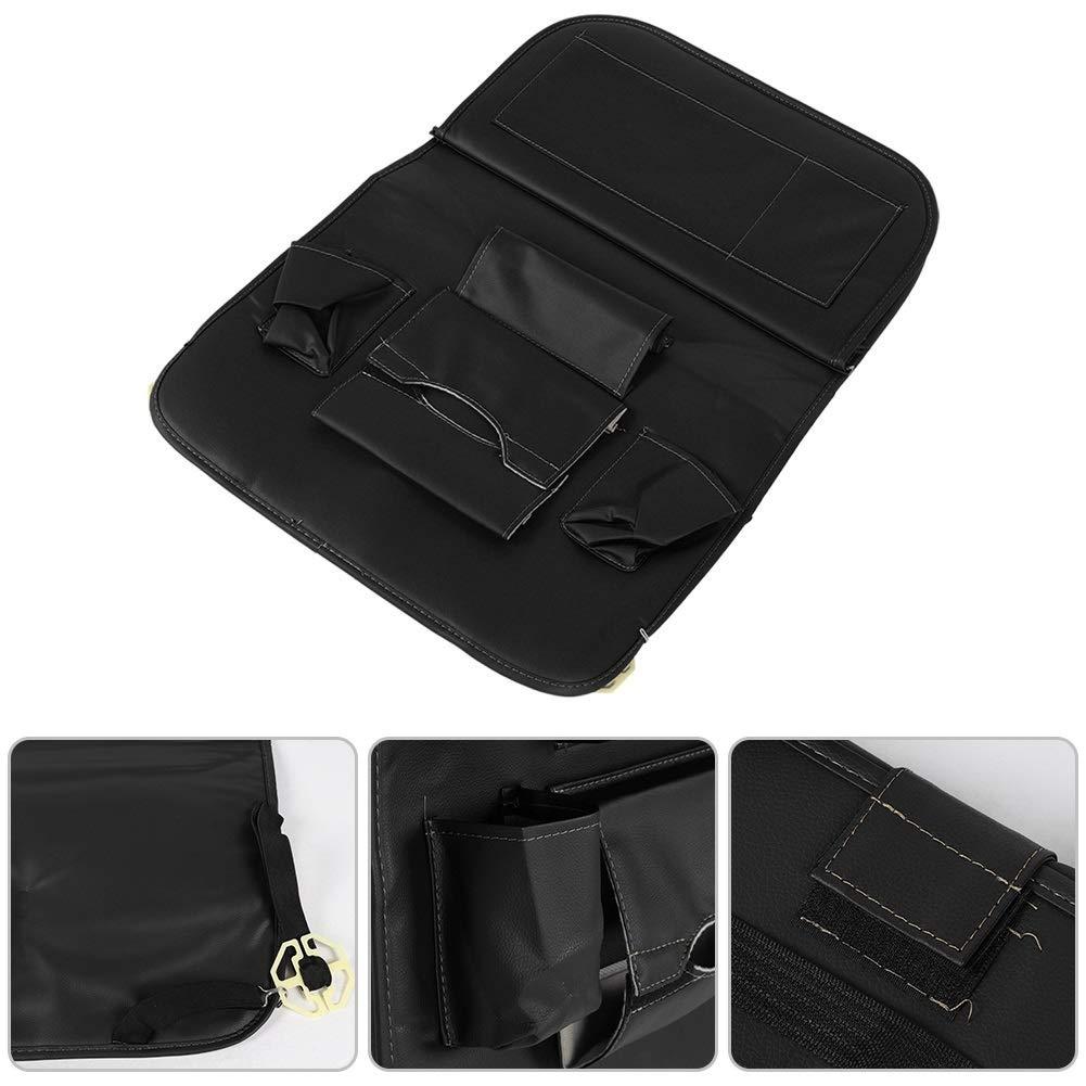 Car Seat Organizer - Multi-Purpose Leather Backseat Organizer PU Leather Storage Organizer Tray Pouch 2pcs Black by Delaman (Image #5)