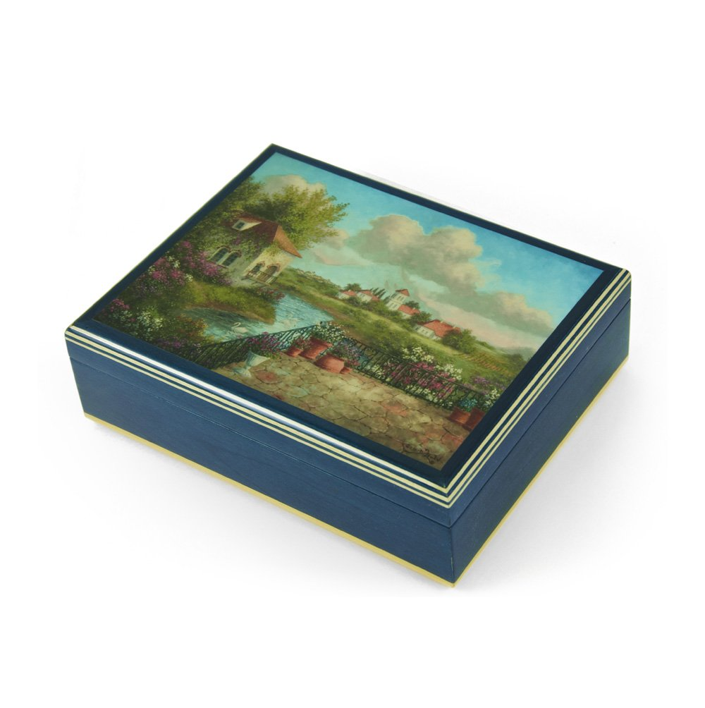 Handcrafted Italian Ercolano Musical Jewelry Box - ''A View of Tuscany'' by Dennis Patrick Lewan - There is No Business Like Show Business