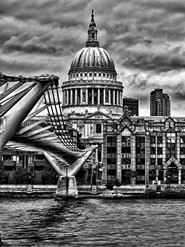 St Pauls Cathedral, River Thames, Millennium Bridge London black and white fine art photographic print wall art for home art for - Thames St