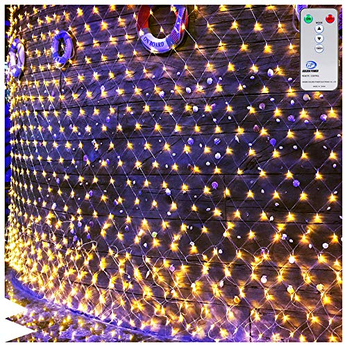 Ollny LED Fairy String Decorative Net Lights Net Mesh Treewrap Lights for Christmas Outdoor Wedding Garden Decorations with Remote Control Warm White 200 LEDs 98ft x 66ftLow Voltage