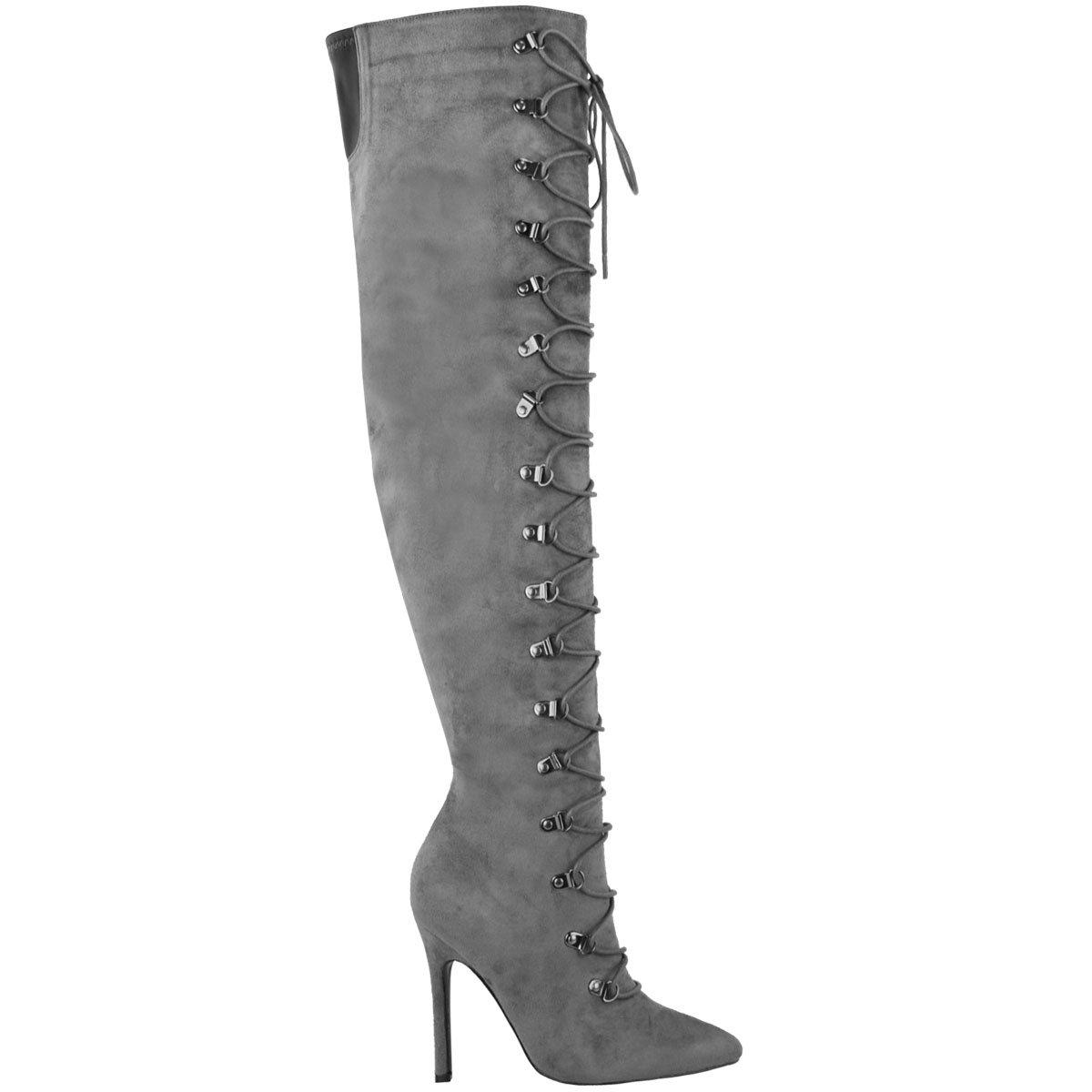 Fashion Thirsty Womens Graues Oberschenkel Schuhe Hoch 19955