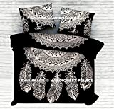 Exclusive Dream Catcher Black & White Reversible Duvet Cover Queen Size Doona Comforter Blanket Set Throw With Pillow Cases Sold By Handicraft-Palace
