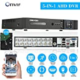 OWSOO 16 Channel Full 720P AHD DVR HVR NVR H.264 HDMI P2P Cloud Network Onvif Digital Video Recorder + 2TB Hard Disk Support Audio Record Phone Control Motion Detection Email Alarm PTZ