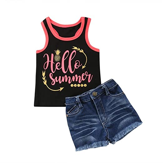 Little Girl Denim Shorts Set Kids Layered Lace Crop Top and Short Ripped Jeans Summer Clothes