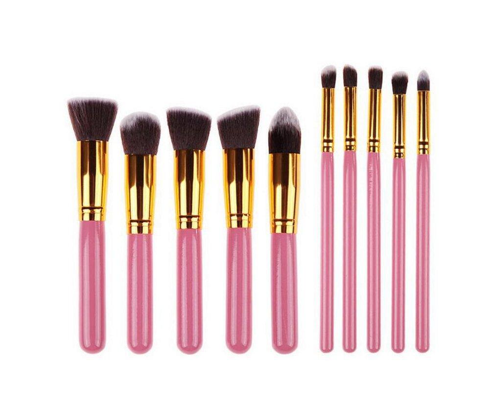 Emorias 10 Pcs Juego de Cepillos para Maquillaje Polvo de Maquillaje Sombra de Ojos Pincel de Maquillaje Profesional Set Herramientas Cosmeticas - Azul Negro